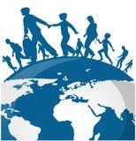 La gente di immigrazione sulla mappa di mondo illustrazione di stock