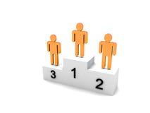 La gente di marchio tre sul podio illustrazione di stock