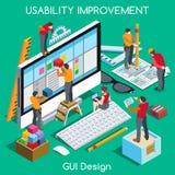 La gente di progettazione del GUI isometrica illustrazione di stock