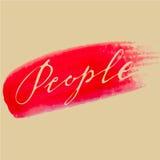 La gente di rosso dell'acquerello di calligrafia Fotografia Stock