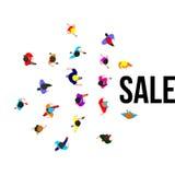 La gente di vista superiore sull'evento di vendita Illustrazione di vettore Fotografia Stock