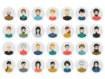 La gente dirige le icone Avatar del fronte Uomo, donna nello stile piano illustrazione di stock