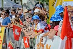 La gente divertendosi ai campionati di orienteering del mondo a Losanna, Svizzera immagine stock libera da diritti