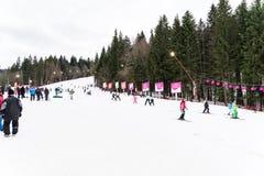 La gente divertendosi corsa con gli sci sulla montagna di Snowy Immagini Stock Libere da Diritti