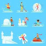 La gente divertendosi nella neve nella collezione invernale delle illustrazioni Fotografie Stock Libere da Diritti