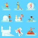 La gente divertendosi nella neve nella collezione invernale delle illustrazioni Fotografia Stock