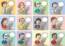La gente e computer del fumetto illustrazione di stock