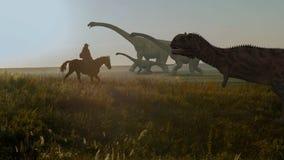 La gente e dinosauri Animazione realistica Vista del paesaggio Fotografia Stock Libera da Diritti