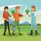 La gente e fare il giardinaggio Fotografie Stock