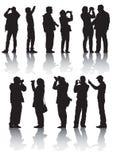 La gente e macchina fotografica dei fotografi Immagine Stock Libera da Diritti