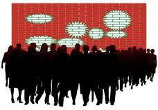 La gente e parete Immagini Stock