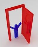 La gente e porta rossa Fotografie Stock