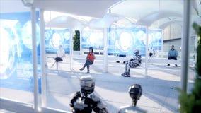 La gente e robot Stazione di Sci fi Trasporto futuristico della monorotaia Concetto di futuro rappresentazione 3d illustrazione di stock