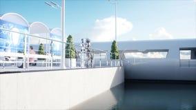 La gente e robot Stazione di Sci fi Trasporto futuristico della monorotaia Concetto di futuro rappresentazione 3d royalty illustrazione gratis
