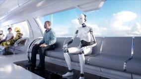 La gente e robot Trasporto futuristico della monorotaia Concetto di futuro Animazione realistica 4K Royalty Illustrazione gratis