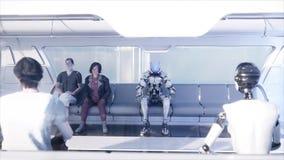 La gente e robot Trasporto futuristico della monorotaia Concetto di futuro Animazione realistica 4K Fotografia Stock Libera da Diritti
