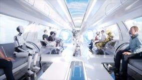 La gente e robot Trasporto futuristico della monorotaia Concetto di futuro Animazione realistica 4K