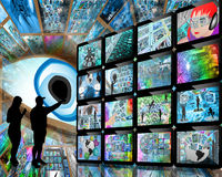 La gente e schermi Fotografie Stock