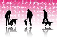 La gente ed animali domestici Fotografia Stock Libera da Diritti