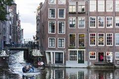 La gente ed architettura di Amsterdam Fotografia Stock Libera da Diritti