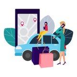 La gente ed auto Facendo gli affari online affitto dell'automobile Illustrazione di vettore nello stile piano illustrazione di stock