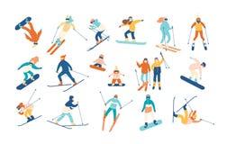 La gente ed i bambini adulti si sono vestiti nello snowboard e nella corsa con gli sci dell'abbigliamento dell'inverno Sci e snow illustrazione di stock