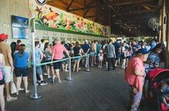 La gente en el carril para comprar boletos para entrar en el Cataratas hace Igua Imagen de archivo