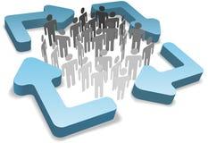 La gente en gestión del proceso recicla flechas del ciclo Imagen de archivo libre de regalías