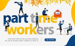La gente es trabajo independiente escribiendo a los trabajadores a tiempo parcial, ilustration del vector del concepto puede util stock de ilustración
