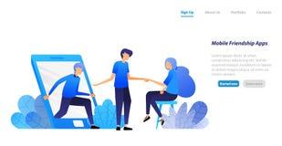 La gente esce del cellulare ed invita per incontrarsi applicazione di amicizia, dell'introduzione e di combinazione concetto dell illustrazione di stock