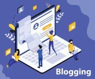 La gente está blogueando en concepto isométrico de las ilustraciones del sitio en línea stock de ilustración