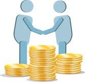 La gente está de acuerdo Montañas de las monedas de oro Imagen de archivo libre de regalías