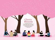 La gente fa un picnic fiore di ciliegia, festival di hanami illustrazione vettoriale