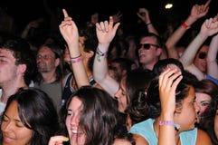 La gente (fan) al festival 2013 FIB (Festival Internacional de Benicassim) Fotografie Stock