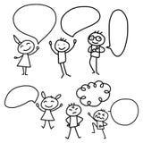 La gente feliz del concepto de la historieta del dibujo de la mano discute el plan empresarial Imagen de archivo libre de regalías