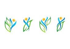 La gente, foglia, logo, benessere, naturale, salute, ecologia, insieme del vettore di progettazione dell'icona di simbolo illustrazione di stock