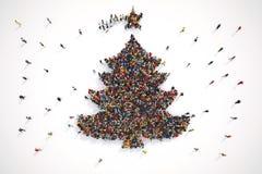 La gente forma la forma de un árbol de navidad representación 3d stock de ilustración