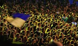 La gente gode del concerto rock ad uno stadio fotografia stock libera da diritti