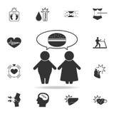 la gente gorda piensa en icono de la comida Sistema detallado de iconos de la obesidad Diseño gráfico superior Uno de los iconos  stock de ilustración