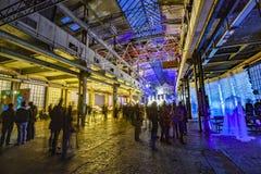 La gente goza el mirar de objetos ligeros en la noche durante Luminale adentro Fotografía de archivo