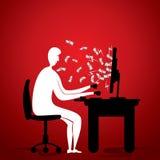 La gente guadagna i soldi dal concetto online del lavoro Immagini Stock