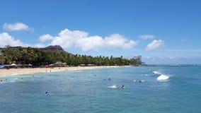 La gente guida le onde nell'acqua alla spiaggia del Queens in Waikiki Immagine Stock