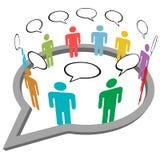 La gente habla discurso social de los media del interior de la reunión Imágenes de archivo libres de regalías