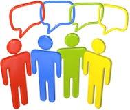 La gente habla media sociales en la conexión del discurso 3D Fotos de archivo