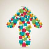 La gente hace forma de la flecha Imagen de archivo