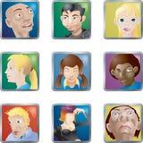 La gente hace frente a avatares de los iconos Foto de archivo libre de regalías