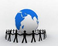 La gente intorno al globo 004 Immagini Stock