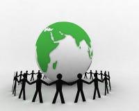La gente intorno al globo 006 illustrazione vettoriale