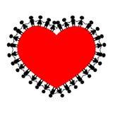 La gente intorno a tenersi per mano del cuore Immagine Stock Libera da Diritti