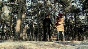 La gente joven está en el bosque del pino del invierno metrajes